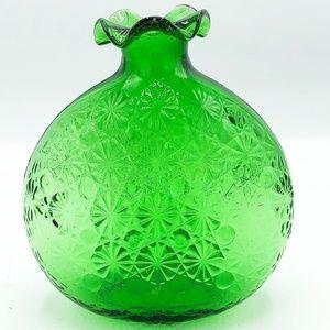 Green Mold Glass Round Vase